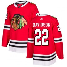 Brandon Davidson Chicago Blackhawks Adidas Youth Authentic Home Jersey - Red