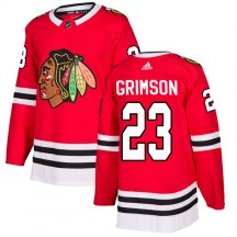 Stu Grimson Chicago Blackhawks Adidas Youth Authentic Home Jersey - Red