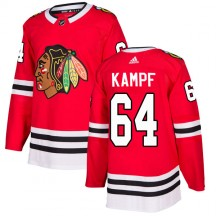 David Kampf Chicago Blackhawks Adidas Youth Authentic Home Jersey - Red