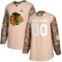 Custom Chicago Blackhawks Adidas Men's Authentic Veterans Day Practice Jersey - Camo