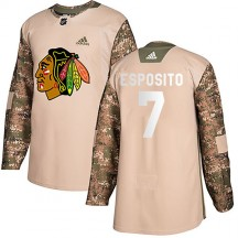 Phil Esposito Chicago Blackhawks Adidas Men's Authentic Veterans Day Practice Jersey - Camo