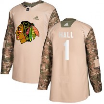 Glenn Hall Chicago Blackhawks Adidas Men's Authentic Veterans Day Practice Jersey - Camo