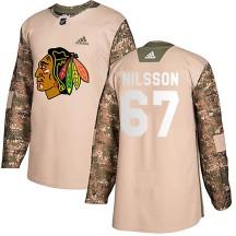 Jacob Nilsson Chicago Blackhawks Adidas Men's Authentic Veterans Day Practice Jersey - Camo