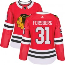Anton Forsberg Chicago Blackhawks Adidas Women's Authentic Home Jersey - Red