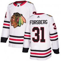 Anton Forsberg Chicago Blackhawks Adidas Youth Authentic Away Jersey - White
