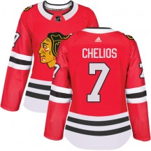 Chris Chelios Chicago Blackhawks Adidas Women's Authentic Home Jersey - Red