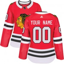 Custom Chicago Blackhawks Adidas Women's Authentic Home Jersey - Red