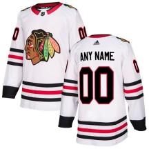 Custom Chicago Blackhawks Adidas Youth Authentic Away Jersey - White