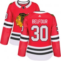 ED Belfour Chicago Blackhawks Adidas Women's Authentic Home Jersey - Red