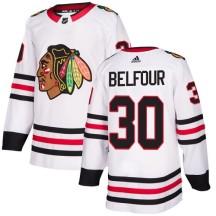 ED Belfour Chicago Blackhawks Adidas Women's Authentic Away Jersey - White