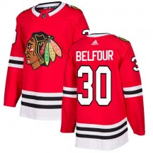 ED Belfour Chicago Blackhawks Adidas Youth Authentic Home Jersey - Red
