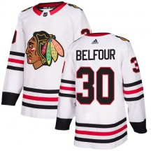 ED Belfour Chicago Blackhawks Adidas Youth Authentic Away Jersey - White