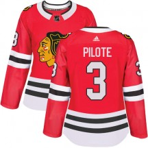 Pierre Pilote Chicago Blackhawks Adidas Women's Authentic Home Jersey - Red