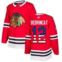Alex DeBrincat Chicago Blackhawks Adidas Youth Authentic USA Flag Fashion Jersey - Red