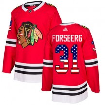 Anton Forsberg Chicago Blackhawks Adidas Men's Authentic USA Flag Fashion Jersey - Red