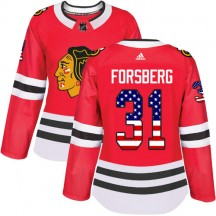 Anton Forsberg Chicago Blackhawks Adidas Women's Authentic USA Flag Fashion Jersey - Red