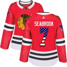 Brent Seabrook Chicago Blackhawks Adidas Women's Authentic USA Flag Fashion Jersey - Red