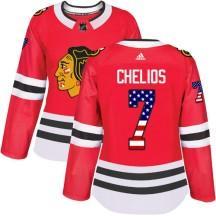Chris Chelios Chicago Blackhawks Adidas Women's Authentic USA Flag Fashion Jersey - Red