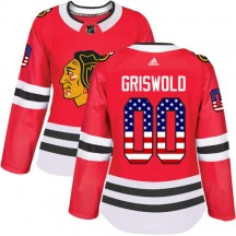 Clark Griswold Chicago Blackhawks Adidas Women's Authentic USA Flag Fashion Jersey - Red