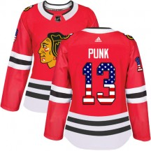 CM Punk Chicago Blackhawks Adidas Women's Authentic USA Flag Fashion Jersey - Red