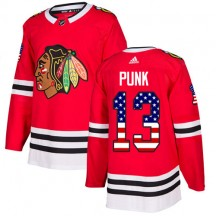 CM Punk Chicago Blackhawks Adidas Youth Authentic USA Flag Fashion Jersey - Red