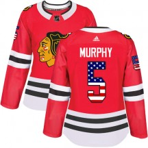Connor Murphy Chicago Blackhawks Adidas Women's Authentic USA Flag Fashion Jersey - Red