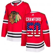 Corey Crawford Chicago Blackhawks Adidas Youth Authentic USA Flag Fashion Jersey - Red