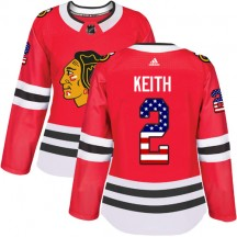 Duncan Keith Chicago Blackhawks Adidas Women's Authentic USA Flag Fashion Jersey - Red