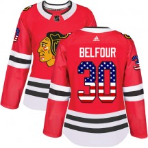 ED Belfour Chicago Blackhawks Adidas Women's Authentic USA Flag Fashion Jersey - Red