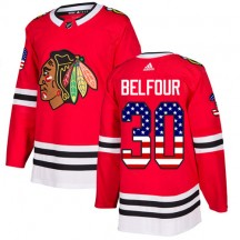 ED Belfour Chicago Blackhawks Adidas Youth Authentic USA Flag Fashion Jersey - Red
