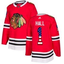 Glenn Hall Chicago Blackhawks Adidas Youth Authentic USA Flag Fashion Jersey - Red