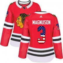 Keith Magnuson Chicago Blackhawks Adidas Women's Authentic USA Flag Fashion Jersey - Red