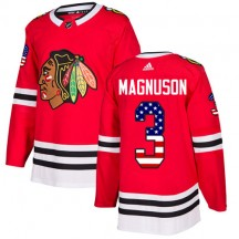 Keith Magnuson Chicago Blackhawks Adidas Youth Authentic USA Flag Fashion Jersey - Red
