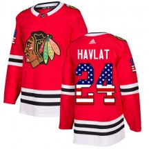 Martin Havlat Chicago Blackhawks Adidas Youth Authentic USA Flag Fashion Jersey - Red