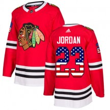 Michael Jordan Chicago Blackhawks Adidas Youth Authentic USA Flag Fashion Jersey - Red