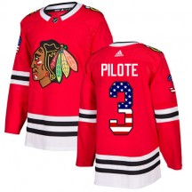 Pierre Pilote Chicago Blackhawks Adidas Youth Authentic USA Flag Fashion Jersey - Red