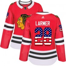 Steve Larmer Chicago Blackhawks Adidas Women's Authentic USA Flag Fashion Jersey - Red