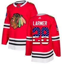 Steve Larmer Chicago Blackhawks Adidas Youth Authentic USA Flag Fashion Jersey - Red