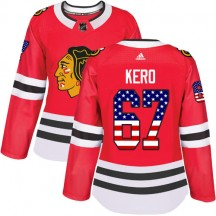 Tanner Kero Chicago Blackhawks Adidas Women's Authentic USA Flag Fashion Jersey - Red
