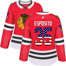 Tony Esposito Chicago Blackhawks Adidas Women's Authentic USA Flag Fashion Jersey - Red