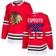 Tony Esposito Chicago Blackhawks Adidas Youth Authentic USA Flag Fashion Jersey - Red